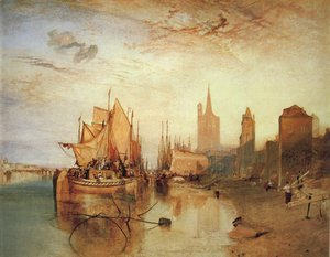 Cologne The Arrival of a Packed Boat Evening 1826
