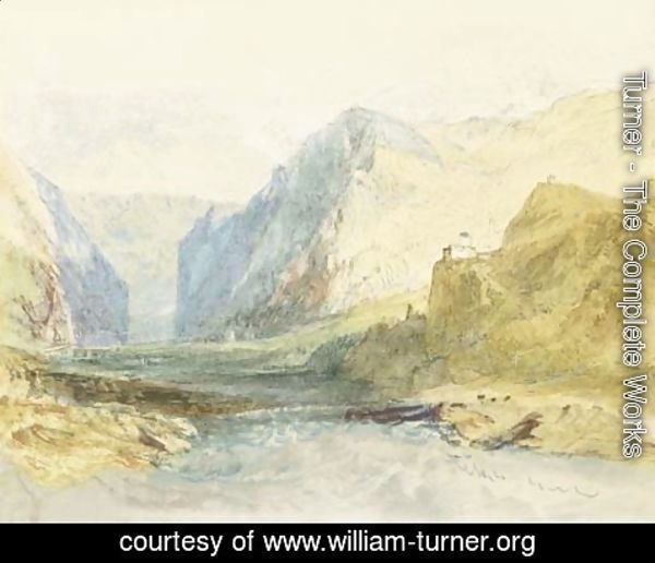 Turner - A scene in the Domleschg Valley in the Grisons, looking towards Thusis, with Castle Ortenstein, the church of St Lorenz