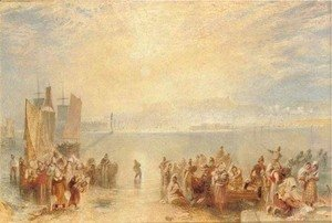 Turner - Granville Fisherfolk on the beach at sunset