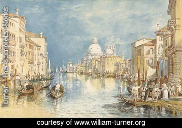The Grand Canal, Venice, with gondolas and figures in the foreground