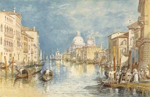 Turner - The Grand Canal, Venice, with gondolas and figures in the foreground