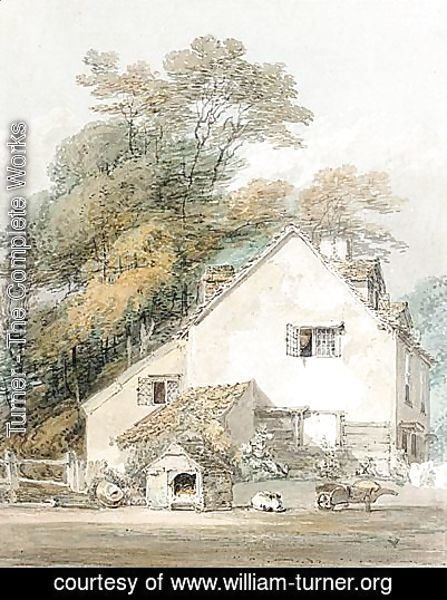 Turner - A Dog Asleep By Its Kennel Outside A Cottage