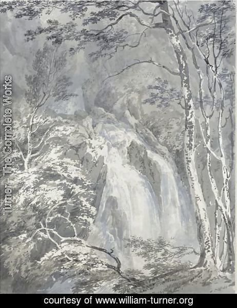 A Waterfall In A Wooded Landscape