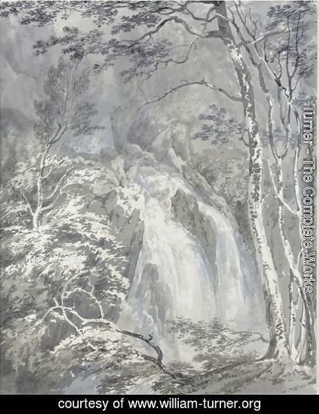 Turner - A Waterfall In A Wooded Landscape