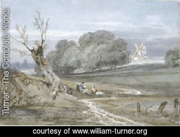 Turner - Landscape With Mill, Durham Cathedral In The Background