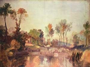 Turner - House on the river with trees and sheep