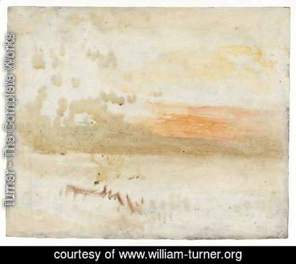 Turner - Sunset Seen from a Beach with Breakwater