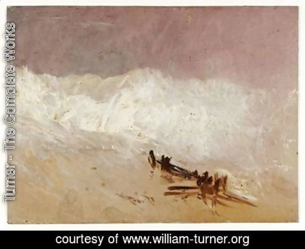 Turner - Shore Scene with Waves and Breakwater