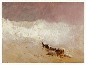 Shore Scene with Waves and Breakwater